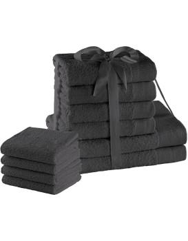 Sada bavlněných ručníků AmeliaHome AMARI 2+4+4 ks grafitová