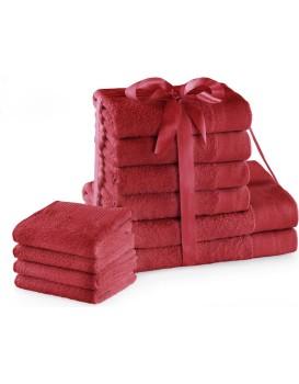 Sada bavlněných ručníků AmeliaHome AMARI 2+4+4 ks tmavě červená