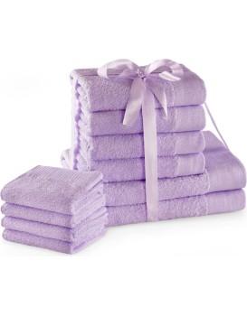 Sada bavlněných ručníků AmeliaHome AMARI 2+4+4 ks šeříková