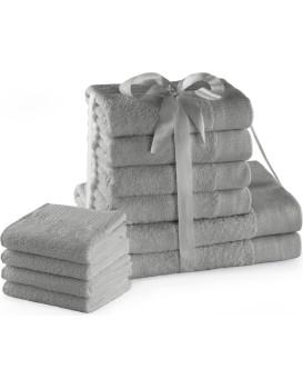Sada bavlněných ručníků AmeliaHome AMARI 2+4+4 ks stříbrná