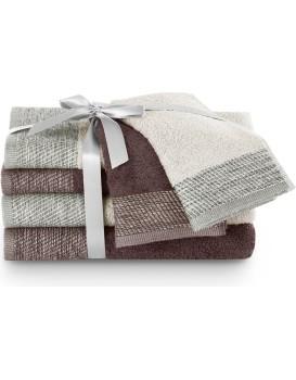 Sada bavlněných ručníků AmeliaHome Aria béžová/hnědá