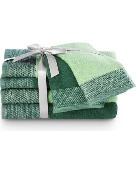 Sada bavlněných ručníků AmeliaHome Aria tmavě zelená/pistáciová