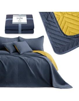 Přehoz na postel AmeliaHome Softa tmavě modrý/medový