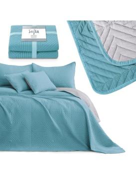 Přehoz na postel AmeliaHome Softa světle modrý/stříbrný