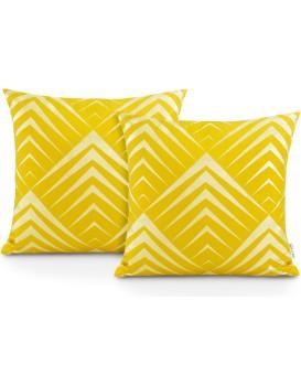 Sada dvou povlaků na polštář AmeliaHome Oxfords Pyramidy žlutá