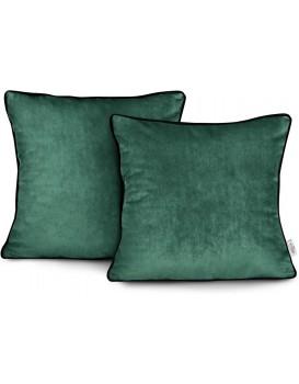 Povlaky na polštáře AmeliaHome Velvet Piping tmavě zelené
