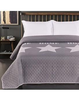 Oboustranný přehoz z mikrovlákna DecoKing Home Stars šedo-stříbrný