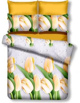 Oboustranné povlečení z mikrovlákna DecoKing Tulip bílo-žluté