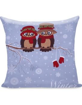 Povlak na polštář DecoKing Winter Owl 80x80 modrý
