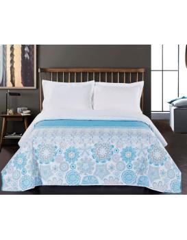 Oboustranný přehoz na postel DecoKing Alhambra tyrkysový/bílý