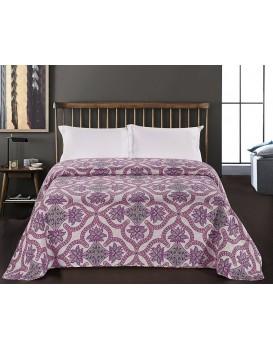 Oboustranný přehoz na postel DecoKing Vivian bílý/fialový