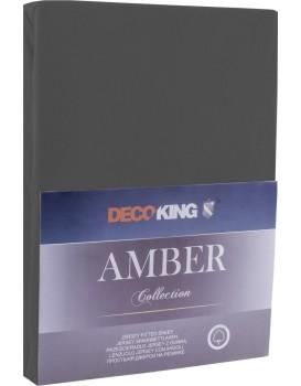 Bavlněné jersey prostěradlo s gumou DecoKing Amber šedé