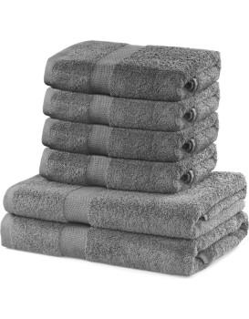 Sada 2 osušek a 4 ručníků DecoKing Ginna šedé