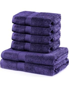 Sada 2 osušek a 4 ručníků DecoKing Ginna fialové