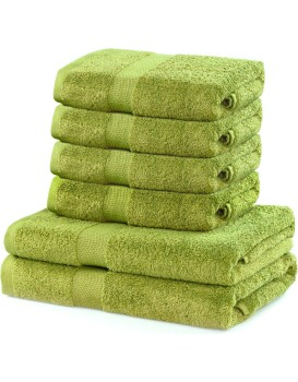 Sada 2 osušek a 4 ručníků DecoKing Ginna světle zelené