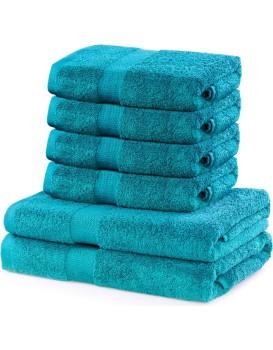 Sada 2 osušek a 4 ručníků DecoKing Ginna modré