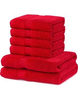 Sada 2 osušek a 4 ručníků DecoKing Ginna červené