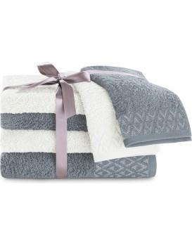 Sada bavlněných ručníků DecoKing  Andrea bílá/grafitová