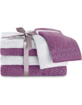Sada bavlněných ručníků DecoKing Andrea šedá/švestková