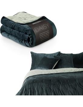 Oboustranný přehoz na postel DecoKing Daisy šedý/krémový