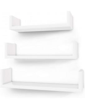 Nástěnné poličky Amora bílé - 3 kusy