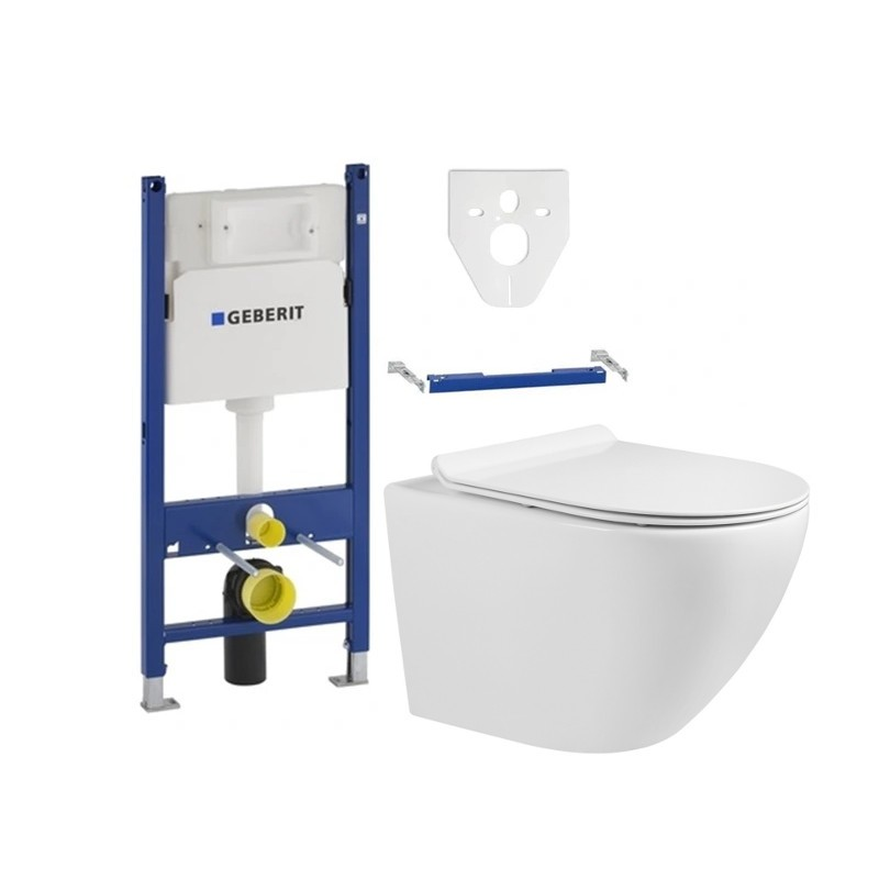 MEXEN Sada podomítkový modul GEBERIT + závěsná WC mísa LENA SLIM + prkénko