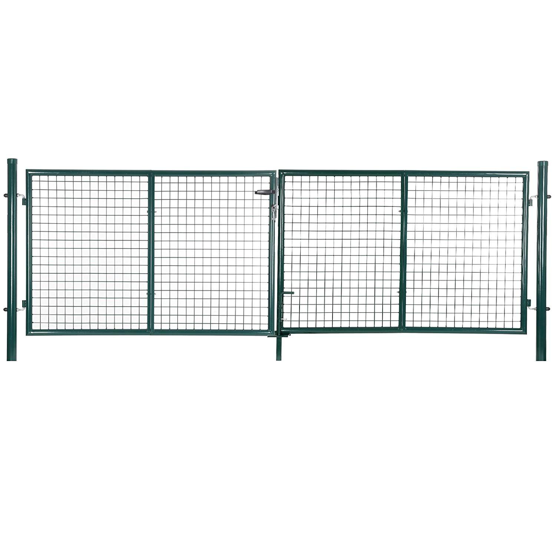 Rongomic Zahradní branka dvoukřídlá 320x150 cm zelená