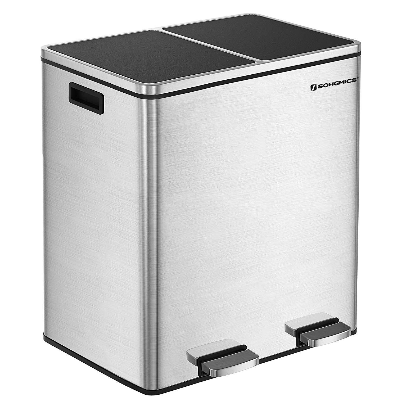 Rongomic Odpadkový koš s víkem JORDAN 2x30 L stříbrný