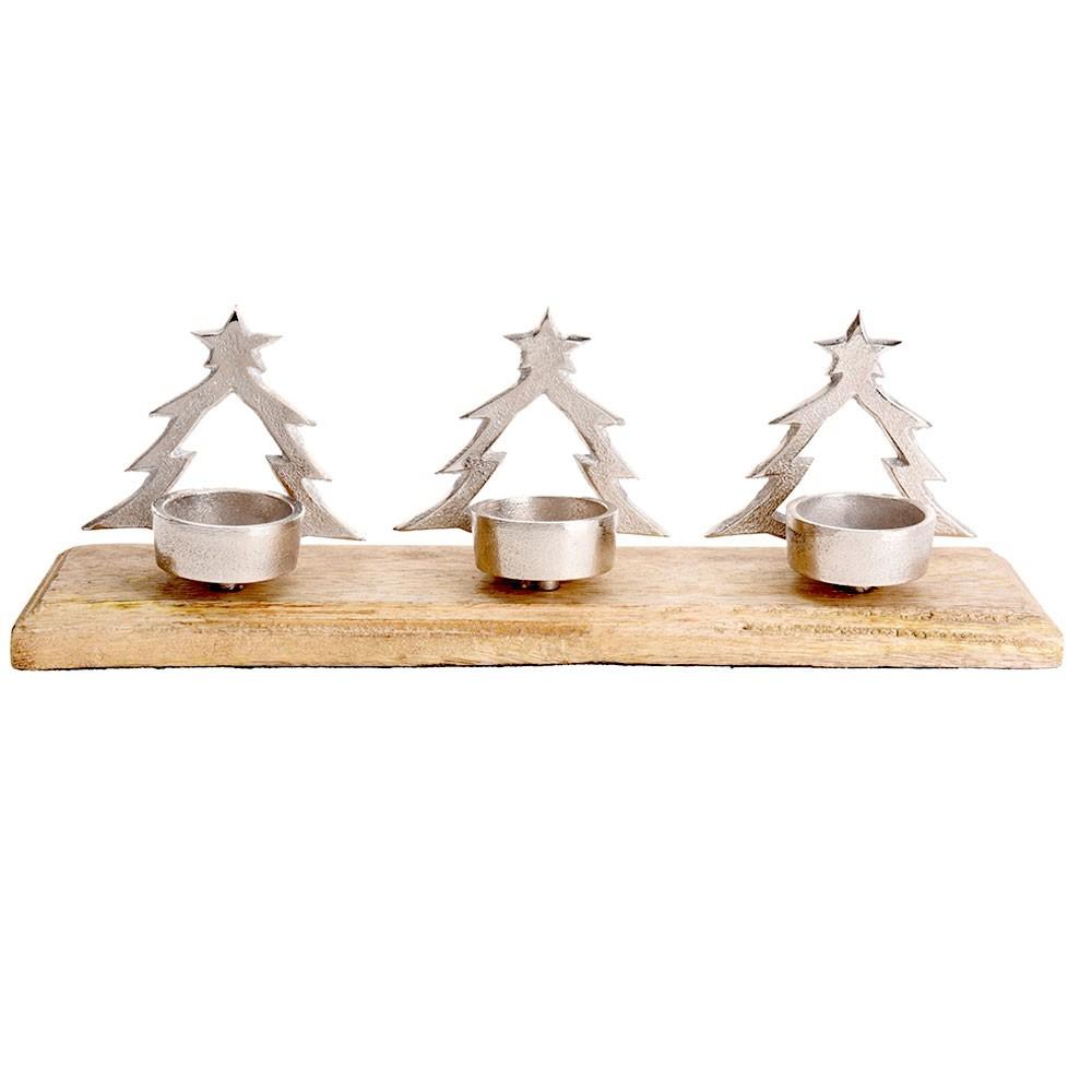 DekorStyle Svícen na tři svíčky STROMEČEK