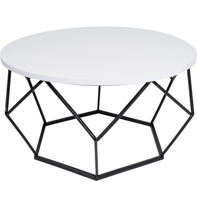DekorStyle Konferenční stolek Diamond 70 cm bílo-černý