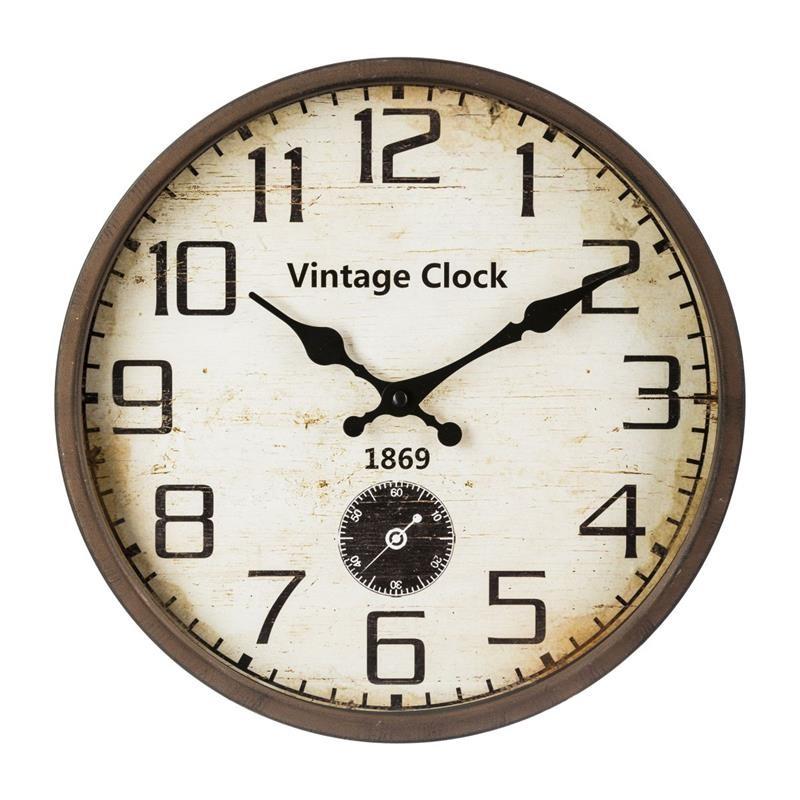 DekorStyle Nástěnné hodiny Lanie vintage hnědá
