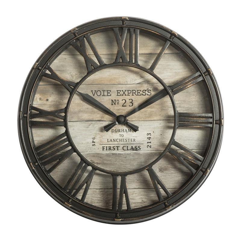 DekorStyle Nástěnné hodiny Lona vintage hnědé