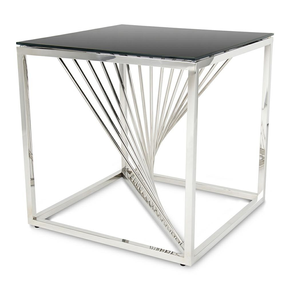 DekorStyle Konferenční stolek LAINE malý stříbrný