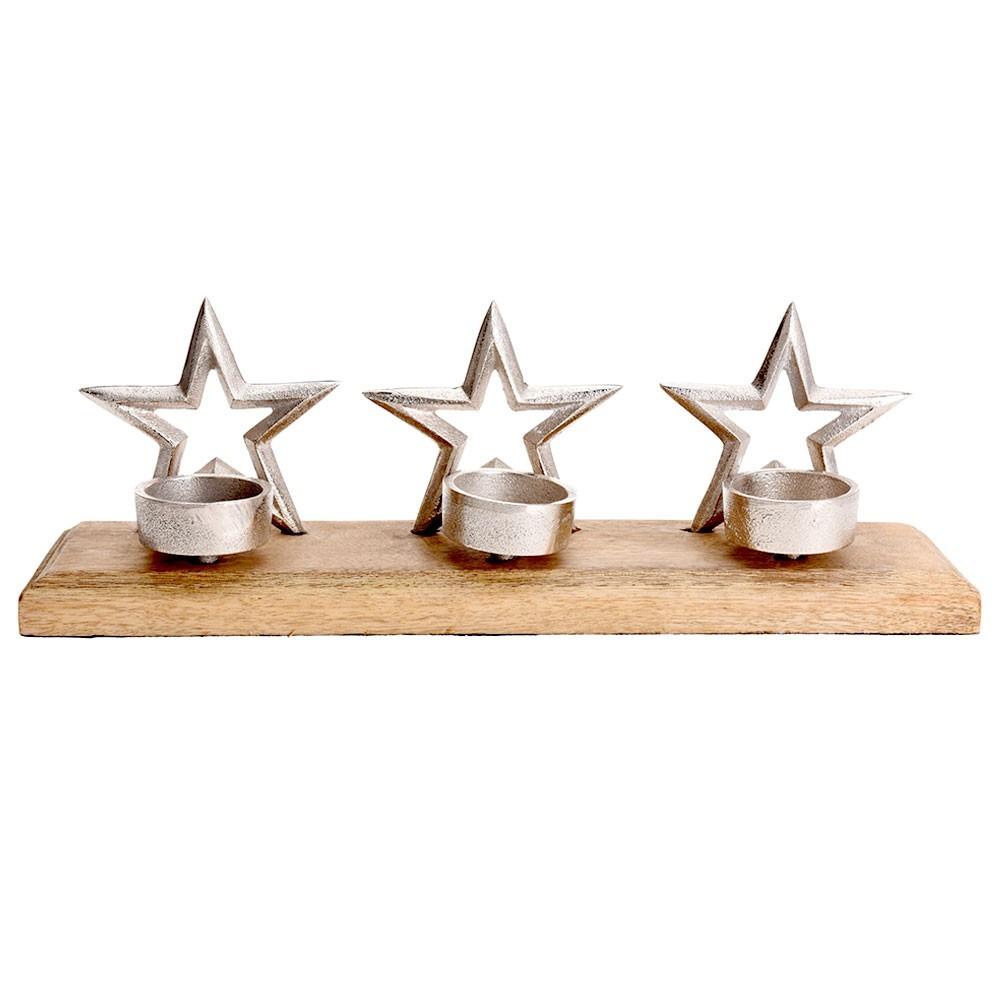 DekorStyle Svícen na tři svíčky HVĚZDY
