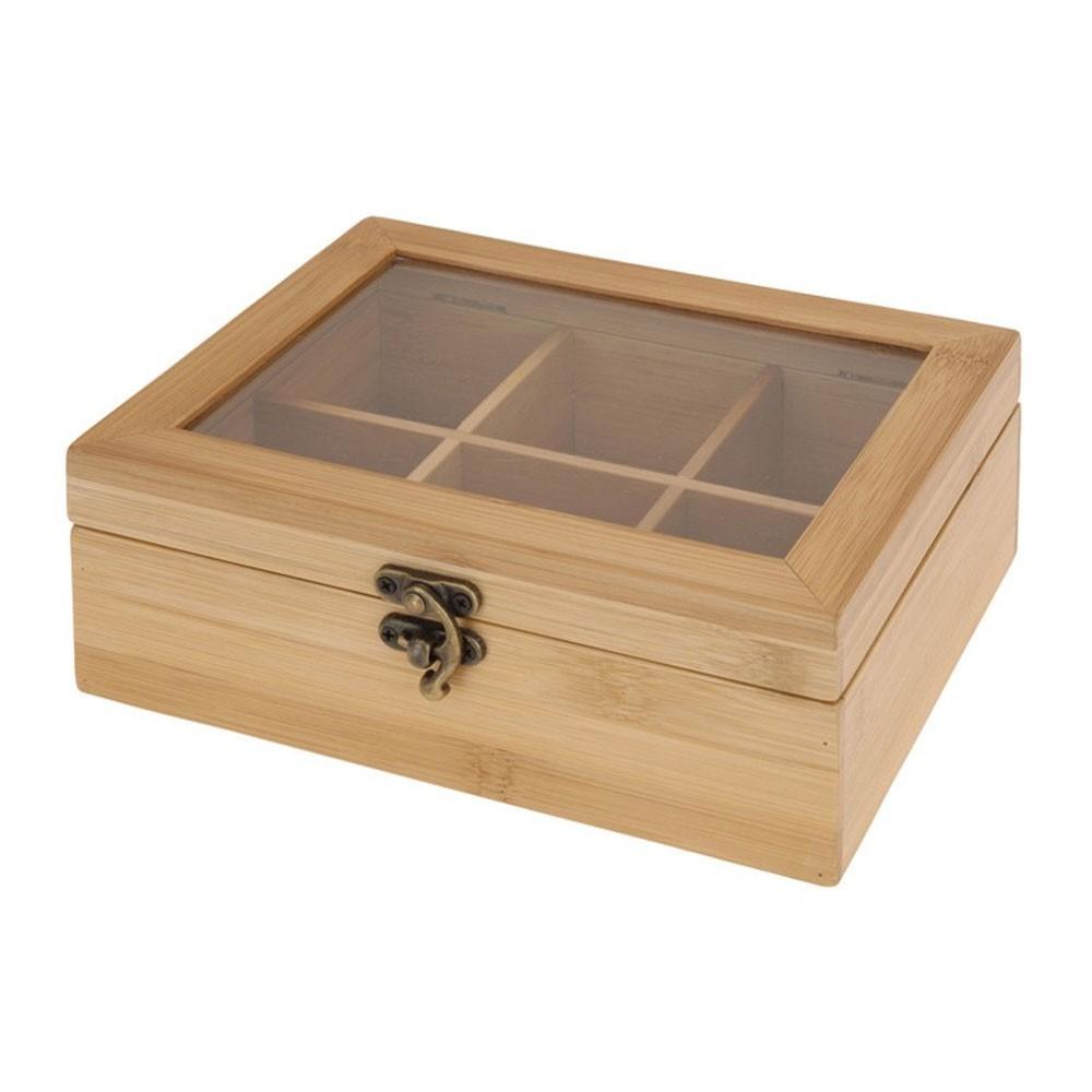 DekorStyle Bambusová skříňka na čaj - 6 přihrádek