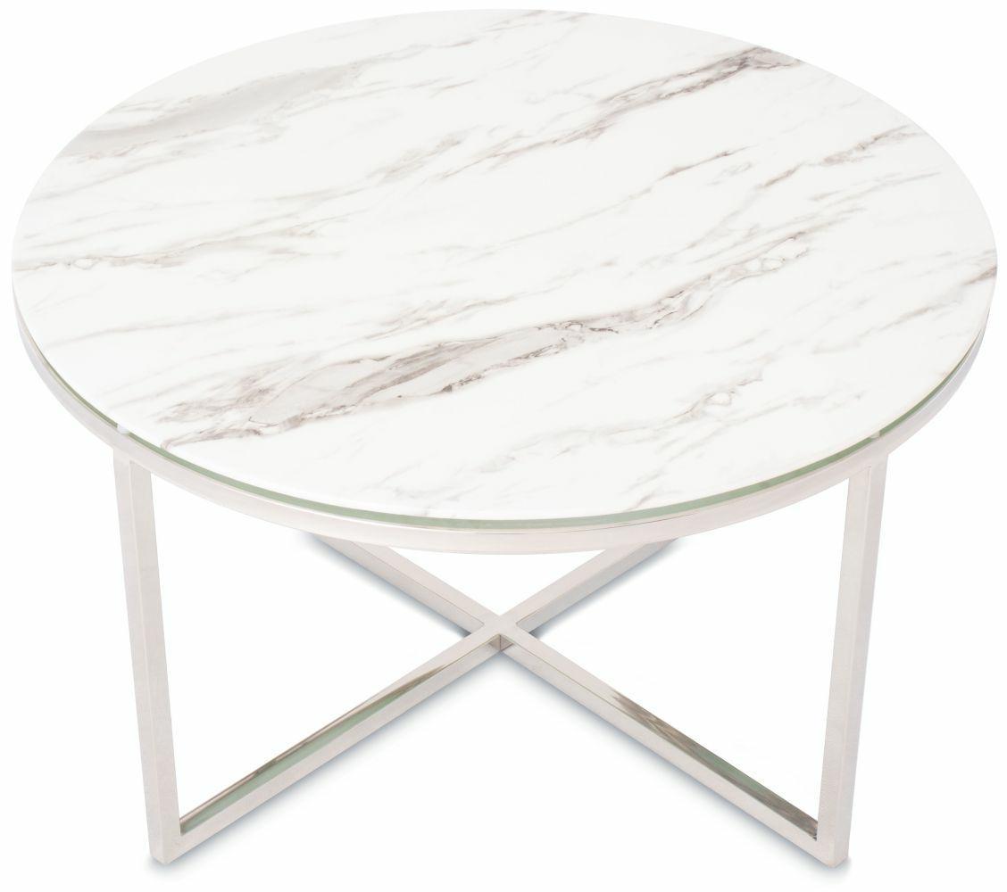 DekorStyle Konferenční stolek VERTIGO SILVER bílý