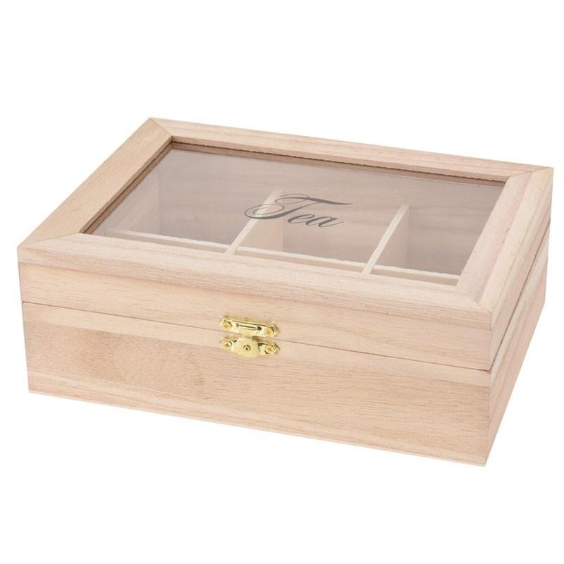 DekorStyle Dřevěná krabička na čaj hnědá