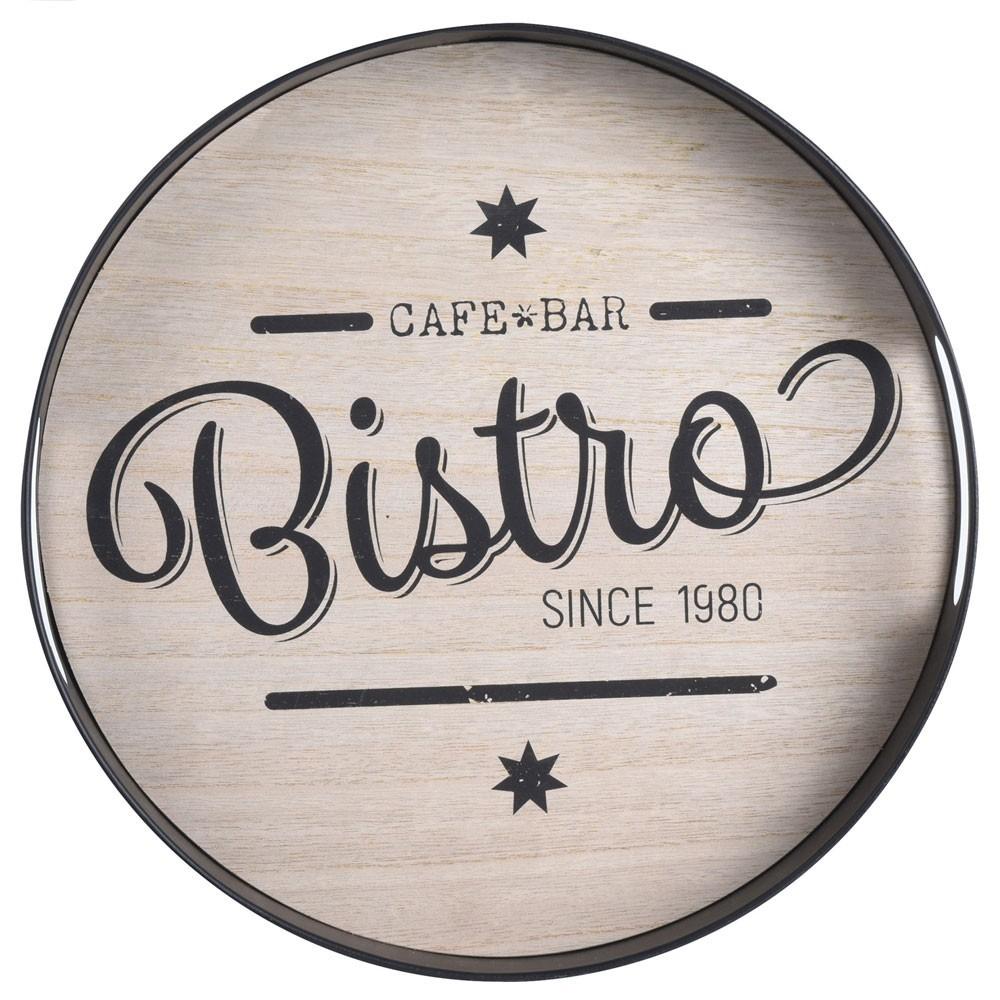 DekorStyle Kovový podnos Round Bistro - Cafe