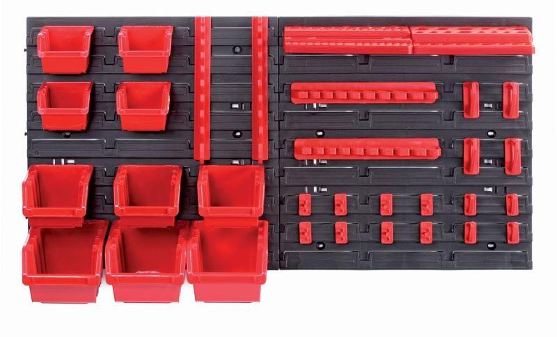 PlasticFuture Závěsný organizér s 10 boxy a 22 držáky na nářadí ORDERLINE 80x16,5x40 černo-červený