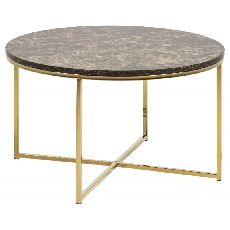 Hector Konferenční stolek Glasgow V 80 cm mramor hnědý/zlatý