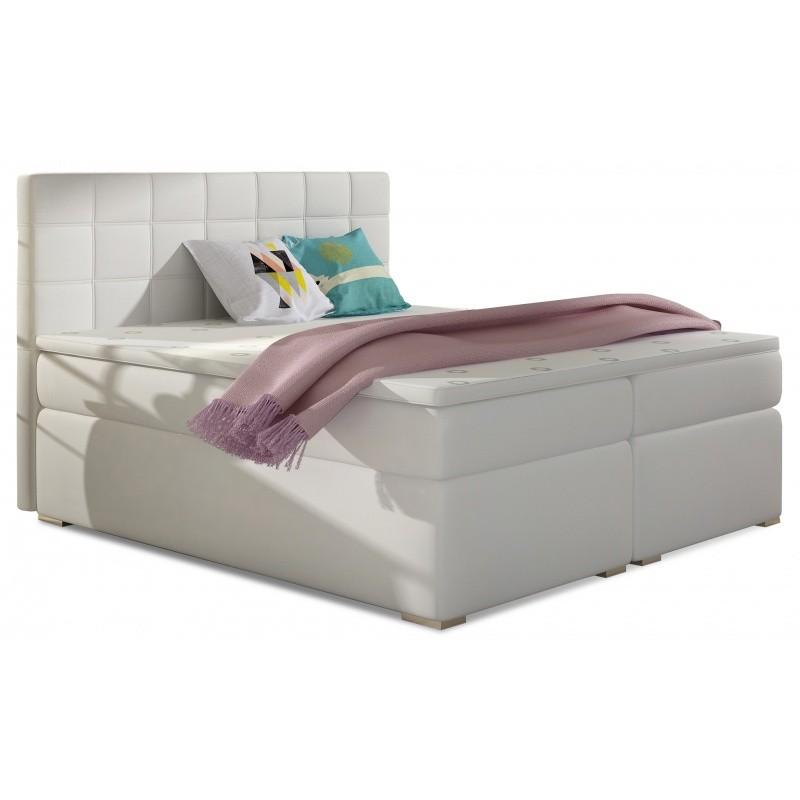 Hector Čalouněná kontinentální postel boxspring Alice 180x200 cm bílá - EKOkůže