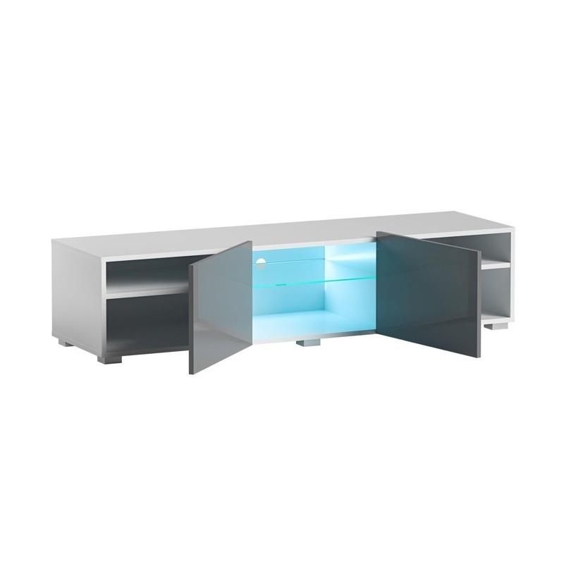 Hector TV stolek Grado II RTV 150 cm bílý/šedý lesk