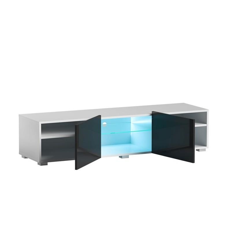 Hector TV stolek Grado II RTV 150 cm bílý/černý lesk