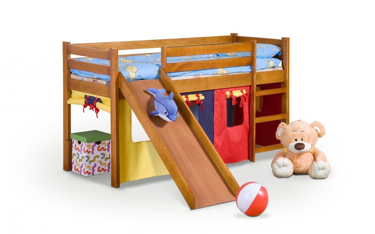 Halmar Dětská postel Neo Plus se skluzavkou borovice