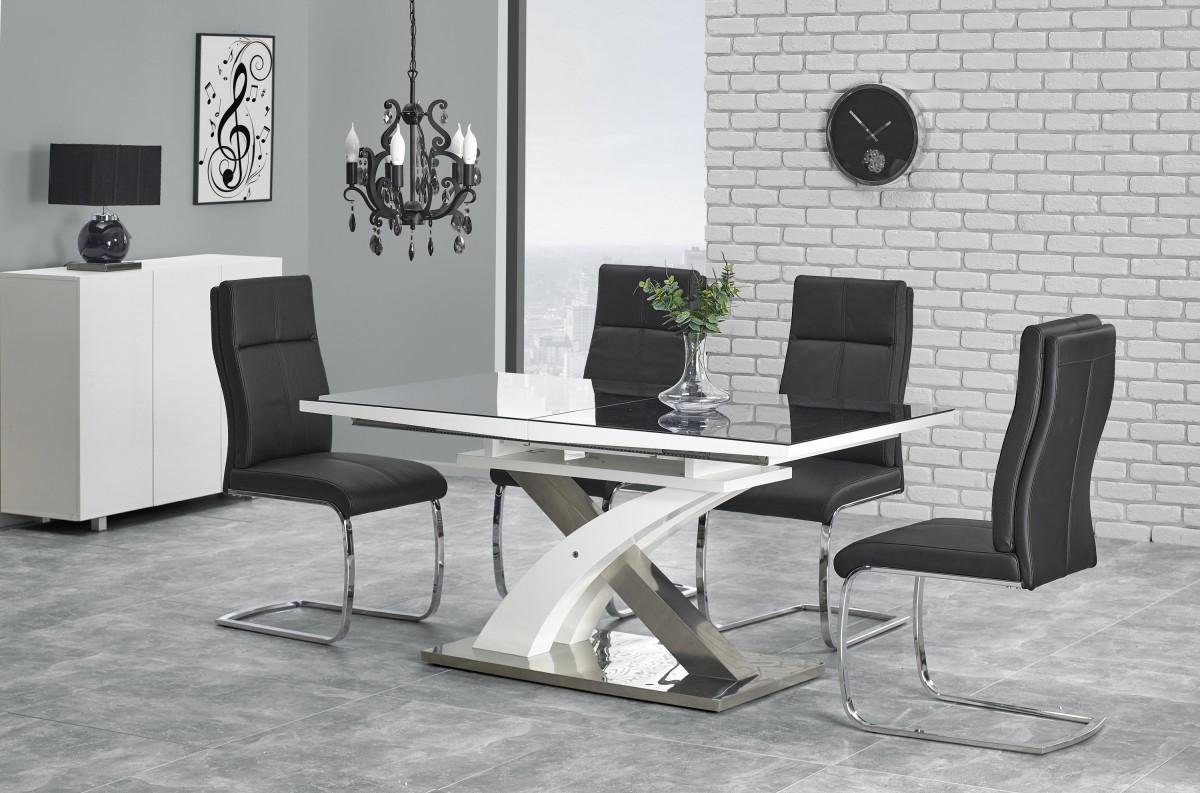 Halmar Rozkládací jídelní stůl Sandoria černý/bílý