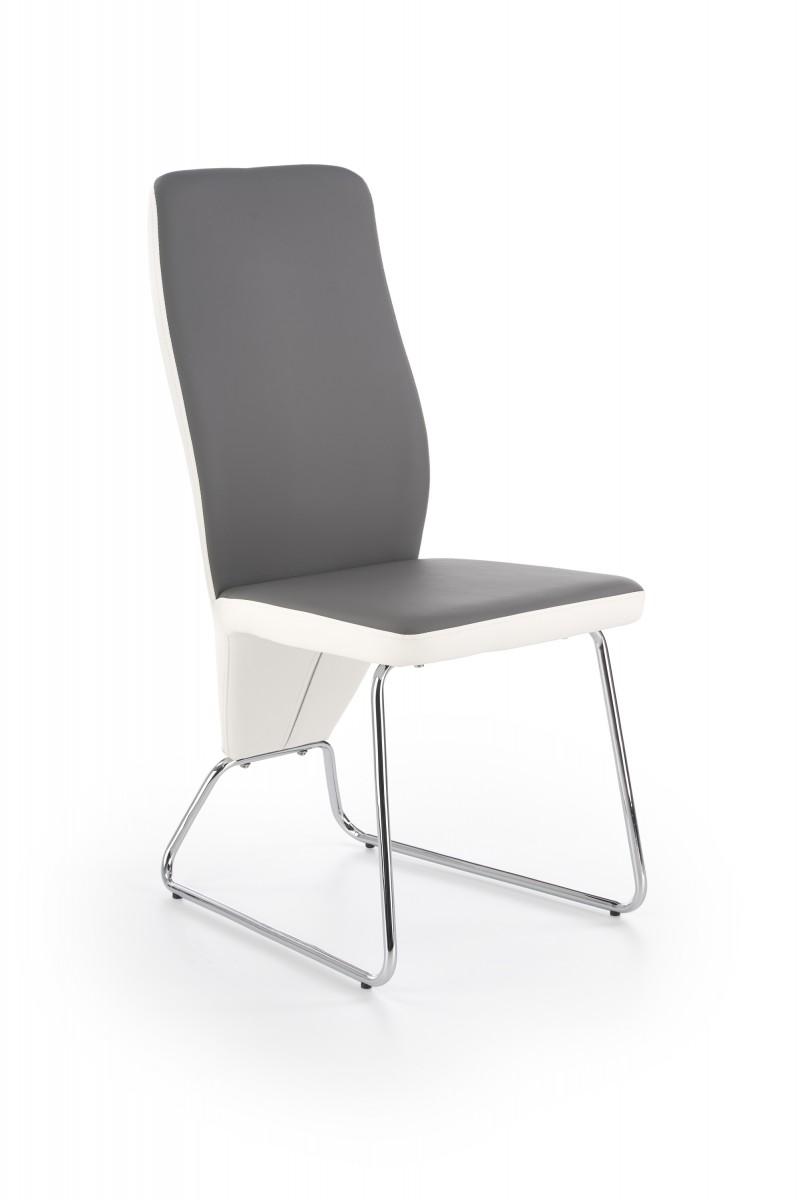 Halmar Jídelní židle Navia bílá/šedá/chrom
