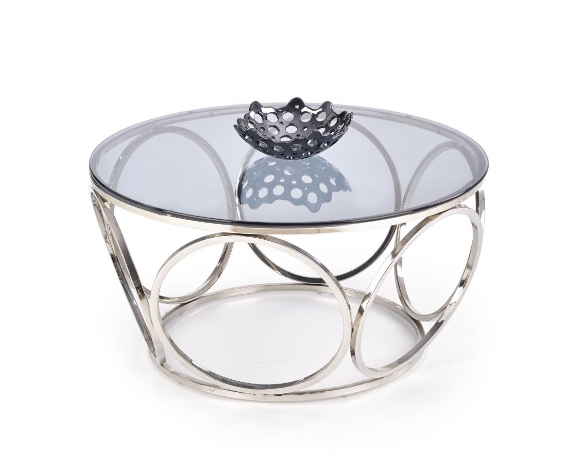 Halmar Konferenční stolek Venus sklo/stříbrný