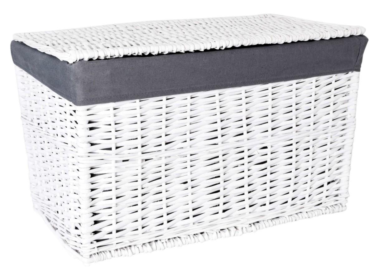 TZB Proutěný koš 105 L bílý/šedá látka