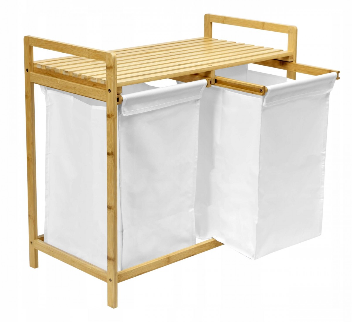 TZB Vysouvací bambusový koš na prádlo HANOI hnědo-bílý - 2 přihrádky