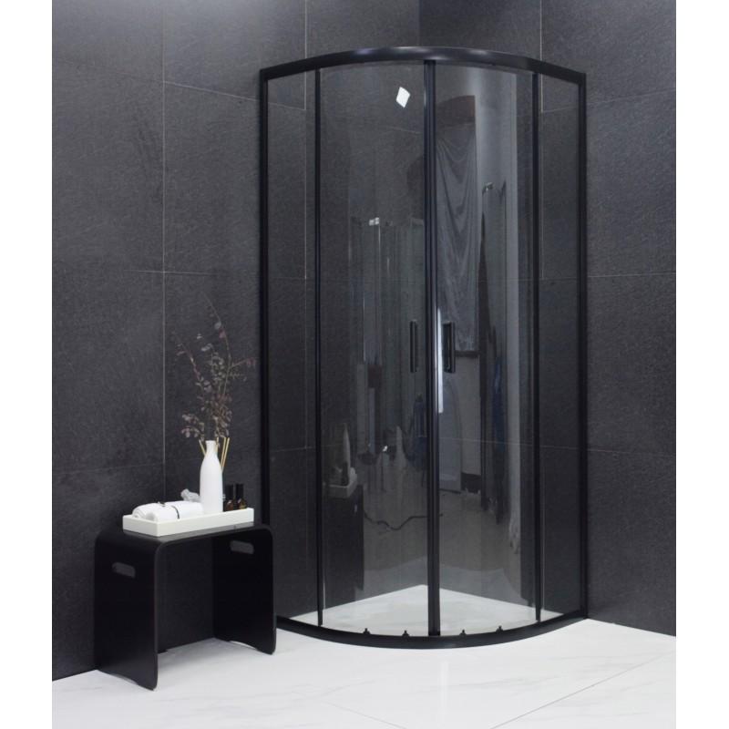 Sprchový kout polokruhový MEXEN RIO černý 70x70 cm